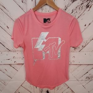 MTV Pink Silver Tee M
